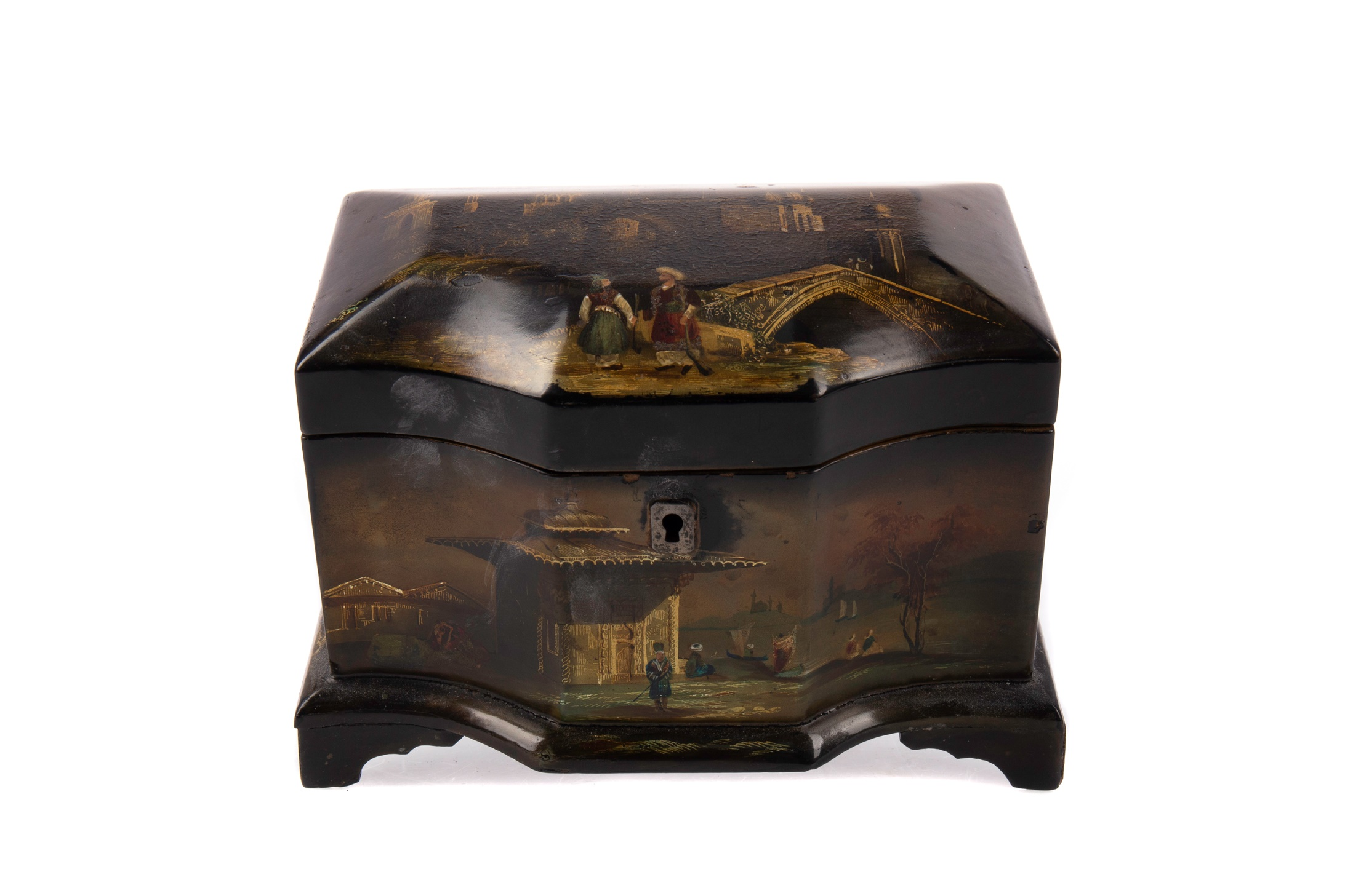 A VICTORIAN LACQUERED TEA CADDY