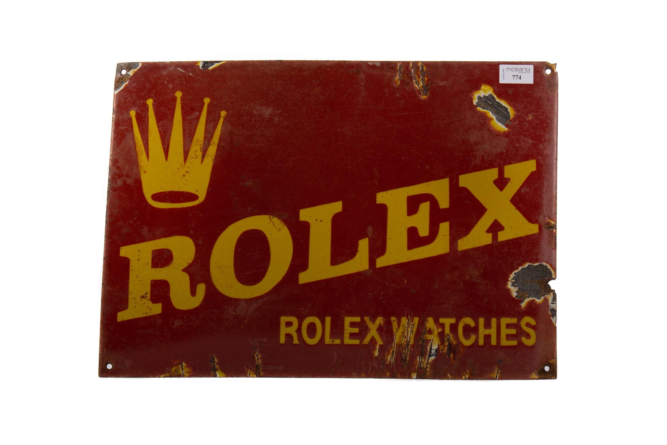 AN ENAMELLED 'ROLEX' ADVERTISEMENT SIGN