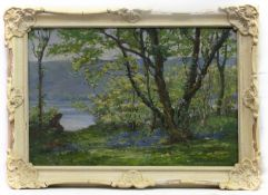 BLUEBELLS BY THE LOCH, AN OIL BY HUGH CAMERON WILSON