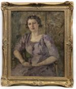 PORTRAIT OF A YOUNG LADY SEATED IN A LILAC DRESS, AN OIL BY DAME ETHEL WALKER