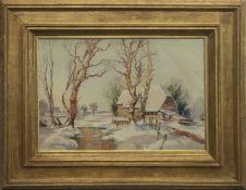 SNOW SCENE IN KENT, A WATERCOLOUR BY JOHN WILSON
