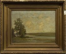 TREES BY A SHORE, AN OIL BY W MILLER