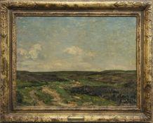 GRASSINGTON MOOR, AN OIL BY REGINALD GRANGE BRUNDRIT