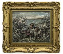 THREE YOUNG GIRLS AMONGST BLOSSOM, BRIGHOUSE BAY BEYOND, AN OIL BY EDWARD ATKINSON HORNEL
