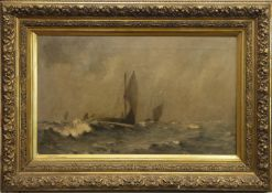 SAILBOATS IN ROUGH SEAS, AN OIL BY JOHN CAMPBELL MITCHELL
