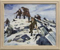 FARMERS AND THEIR DOGS ON A HILL IN WINTER, AN OIL, FOLLOWER OF SIR KYFFIN WILLIAMS