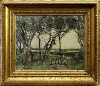 SHEEP DRIVING ON A COUNTRY PATH, AN OIL BY WILLIAM PAGE ATKINSON WELLS