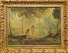 IN THE PARADISE GROVE, AN OIL BY G.T.M ROACH