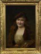 A FRENCH LADY, AN OIL BY ANGELO ASTI