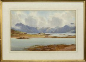 SEA LOCH WITH LIGHTHOUSE, A WATERCOLOUR BY GEORGE DRUMMOND FISH