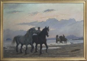 RIDERS AND HORSES AT THE SHORE, A SCOTTISH SCHOOL OIL