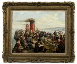 THE DECK OF THE STEAMER IONA, AN OIL BY ROBERT B GRAHAM