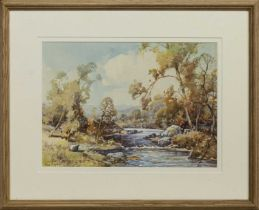 THE LONE SHEEP, AUTUMN, A WATERCOLOUR BY TOM CAMPBELL