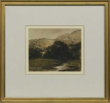 RIVER AND HILLS, A WATERCOLOUR BY GEORGE SYKES
