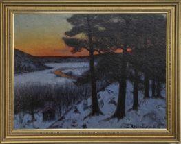 WINTER SUNSET, AN OIL BY EDVARD ROSENBERG