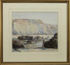 BATHERS BELOW CLIFFS, A WATERCOLOUR BY GEORGE CUNNINGHAM STEVENSON