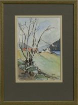 WOODLAND LANDSCAPE, A WATERCOLOUR BY WENDY WOOD