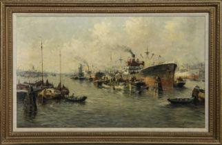 ROTTERDAM HARBOUR, AN OIL BY J VAN DELDEN