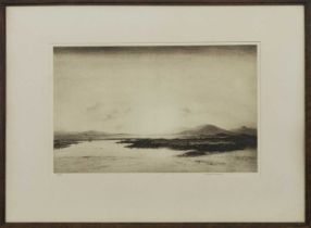 SUNSET, NORTH UIST, AN ETCHING BY WILLIAM DOUGLAS MACLEOD