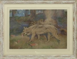 WOLVES, A PASTEL BY WILLIAM WALLS