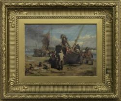 UNPACKING THE BOATS, AN OIL BY ROBERT THORBURN ROSS