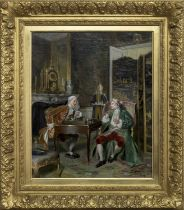 CHESS PLAYERS, AN OIL BY BERARD-LOUIS BORIONE