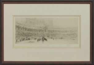 BULLFIGHT, AN ETCHING BY WILLIAM WALCOT
