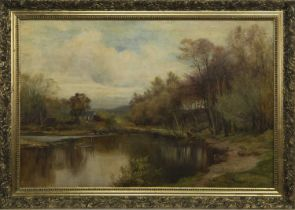 A TURN OF THE RIVER FRUIN, AN OIL BY PETER BUCHANAN