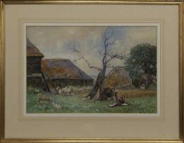 IN THE FARMYARD, A WATERCOLOUR BY SIR DAVID MURRAY