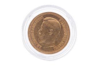 A RUSSIA NICOLI II GOLD 7 RUBLES 50 KOPECKS COIN DATED1897