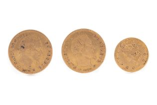 TWO NAPOLEON III FIVE FRANC COINS AND A GOLD ONE DOLLAR