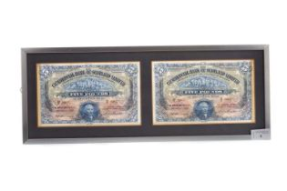 A COLLECTION OF FRAMED BANKNOTES AND CHEQUES