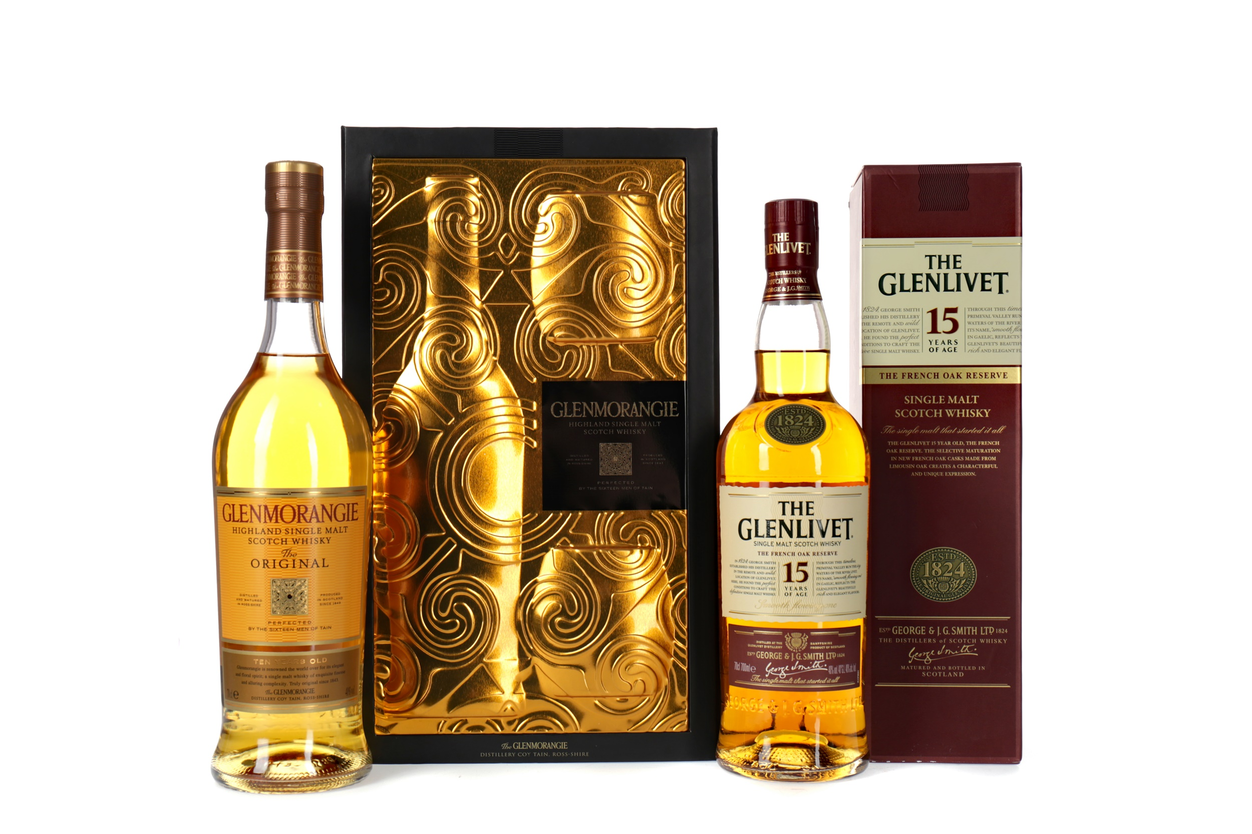 GLENMORANGIE 10 YEARS OLD GLASS PACK AND GLENLIVET FRENCH OAK RESERVE 15 YEARS OLD