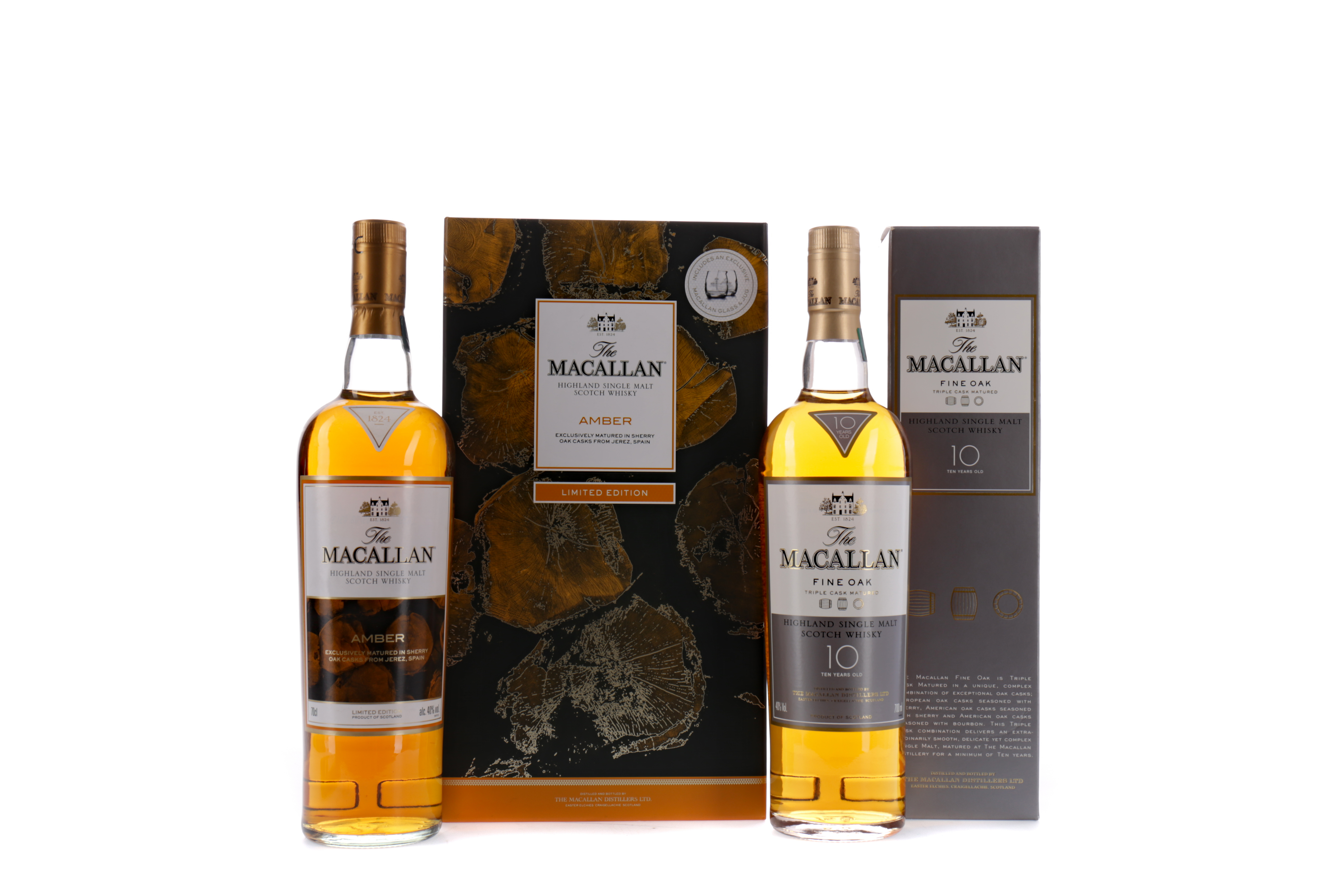 MACALLAN AMBER SPECIAL EDITION JUG AND GLASS SET, AND MACALLAN FINE OAK AGED 10 YEARS