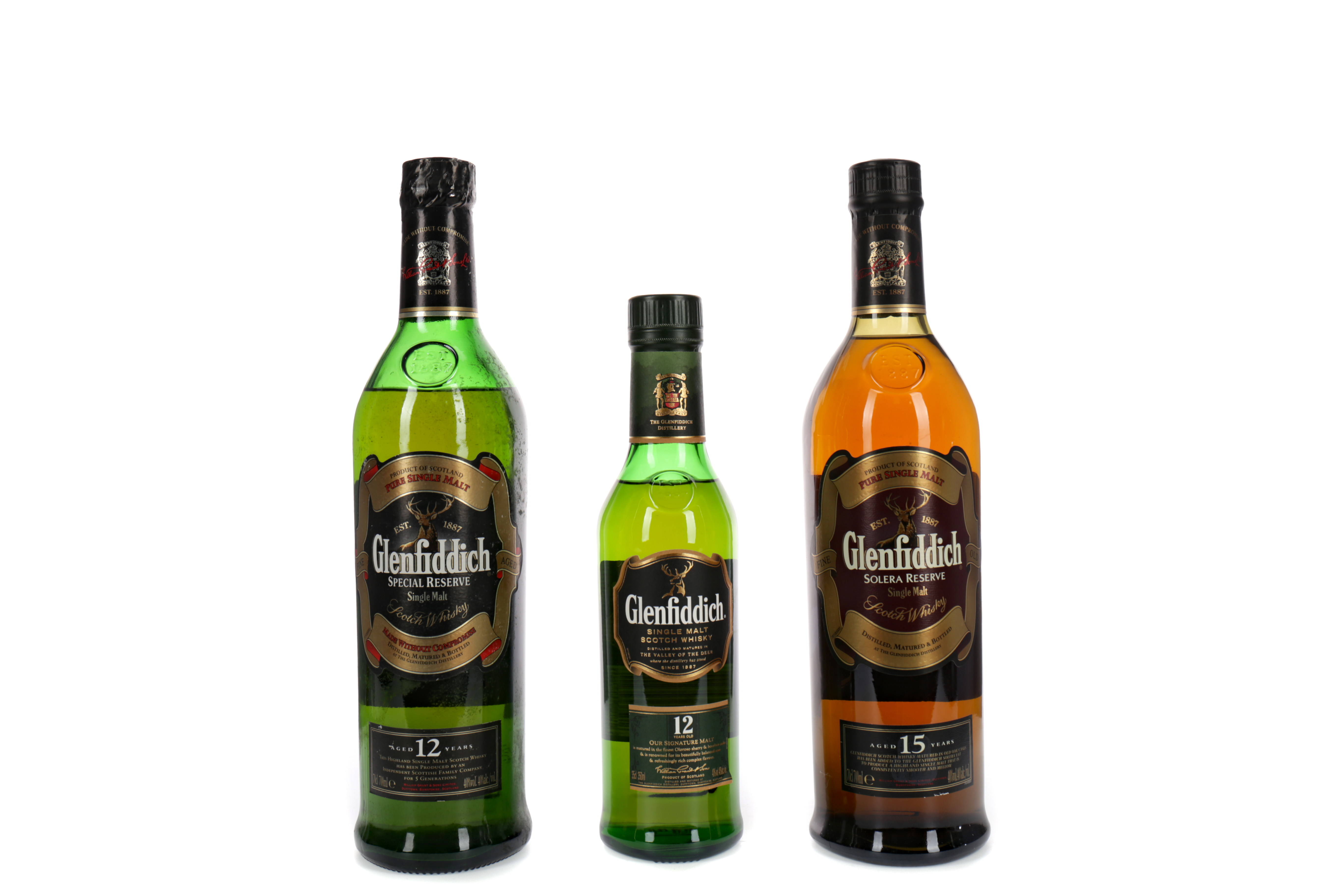 GLENFIDDICH AGED 15 YEARS, AND ONE & A HALF BOTTLES OF GLENFIDDICH AGED 12 YEARS