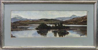 LOCH DOCHART, A WATERCOLOUR BY J W FERGUSON