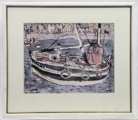 THE FISHING BOAT, A LITHOGRAPH BY SIR WILLIAM GILLIES