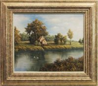 SWANS ON THE RIVER, AN OIL ON CANVAS