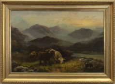 MIDST HILL AND HEATHER, AN OIL BY A TAYLOR