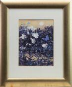 BLUE BUTTERFLIES, A GOUACHE BY MOIRA FERRIER