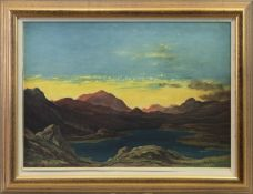 SUNSET AT THE LOCH, A LITHOGRAPH BY D Y CAMERON