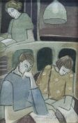NIGHT AT THE LIBRARY, A WATERCOLOUR BY MADELEINE HAND