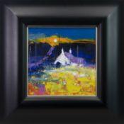 WINTER SUNSET, CARRADALE, KINTYRE, AN OIL BY JOLOMO