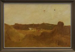 PARACHUTE JUMPING IN THE PARK, AN OIL BY JOHN HALLIDAY