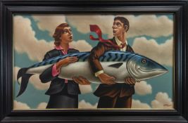 BIGGER FISH TO FRY, A LARGE OIL BY GRAHAM MCKEAN