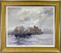BOATS ON THE CLYDE, AN OIL BY WILLIAM NORMAN GAUNT