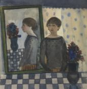 GIRL AND MIRROR, A WATERCOLOUR BY MARYSIA DONALDSON