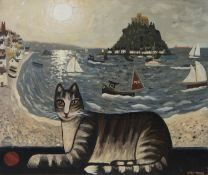 PLAYFUL IZZY AT PENZANCE, AN OIL BY ALAN FURNEAUX