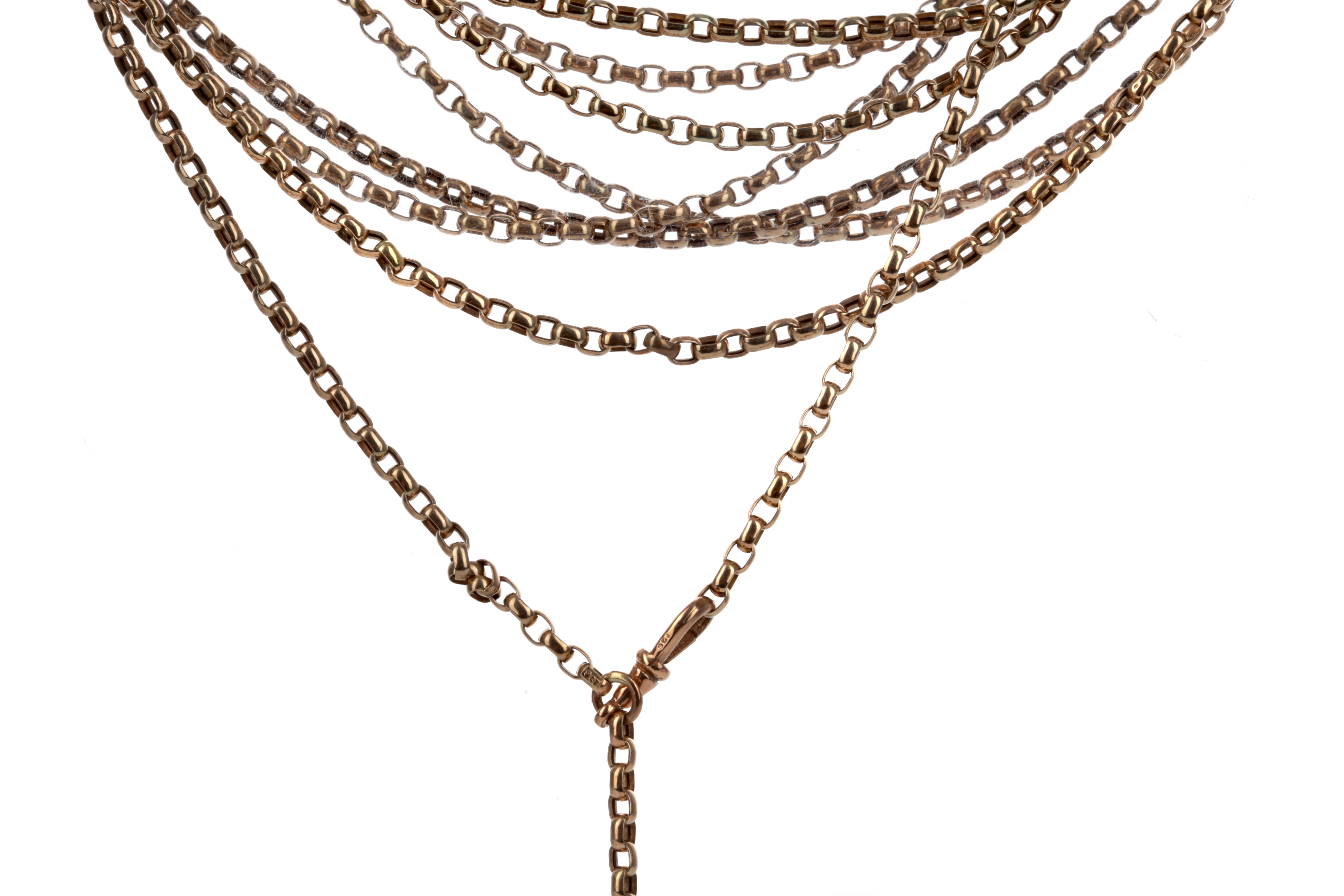 A GOLD GUARD CHAIN AND A BRACELET
