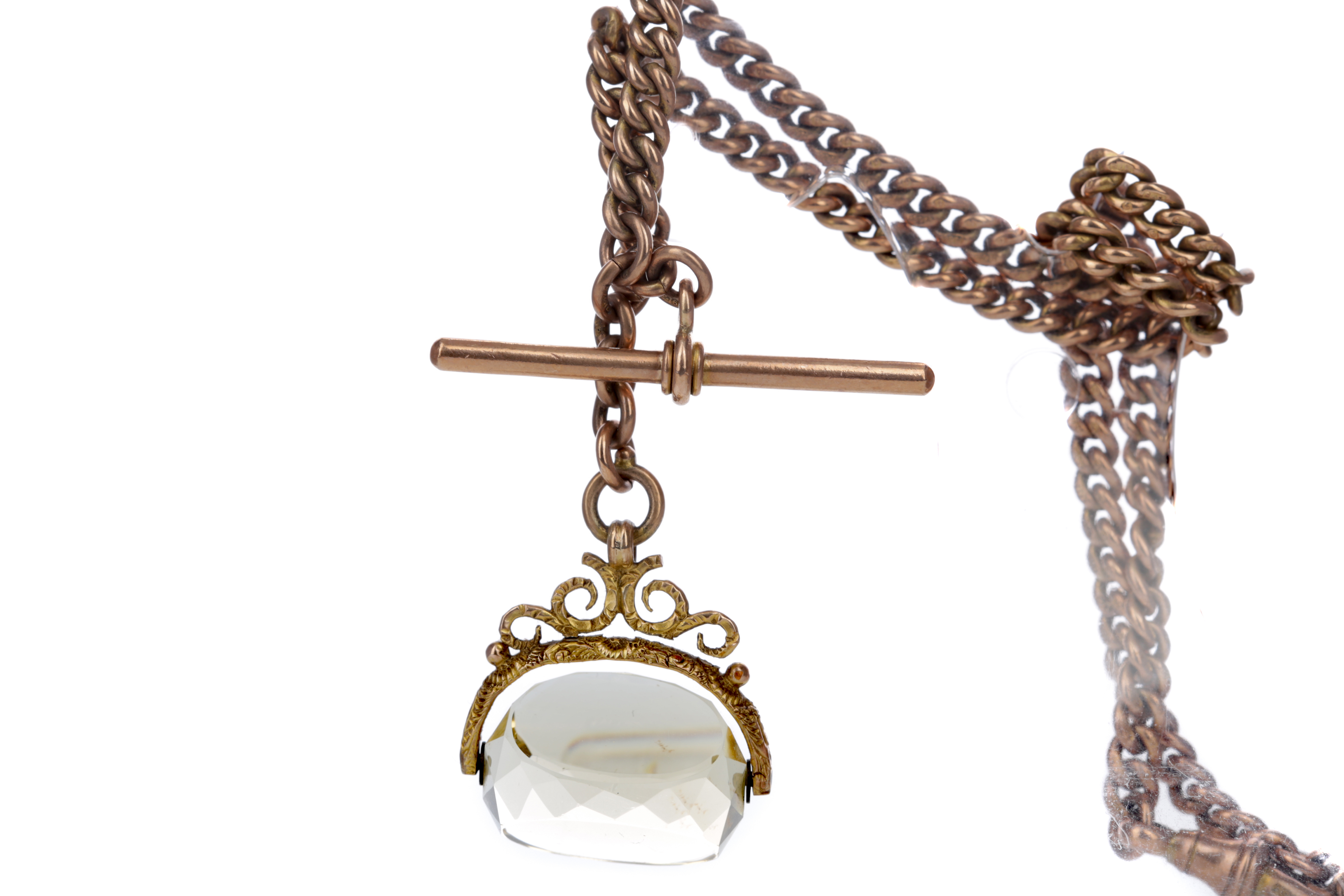 A DOUBLE ALBERT CHAIN WITH SWIVEL FOB
